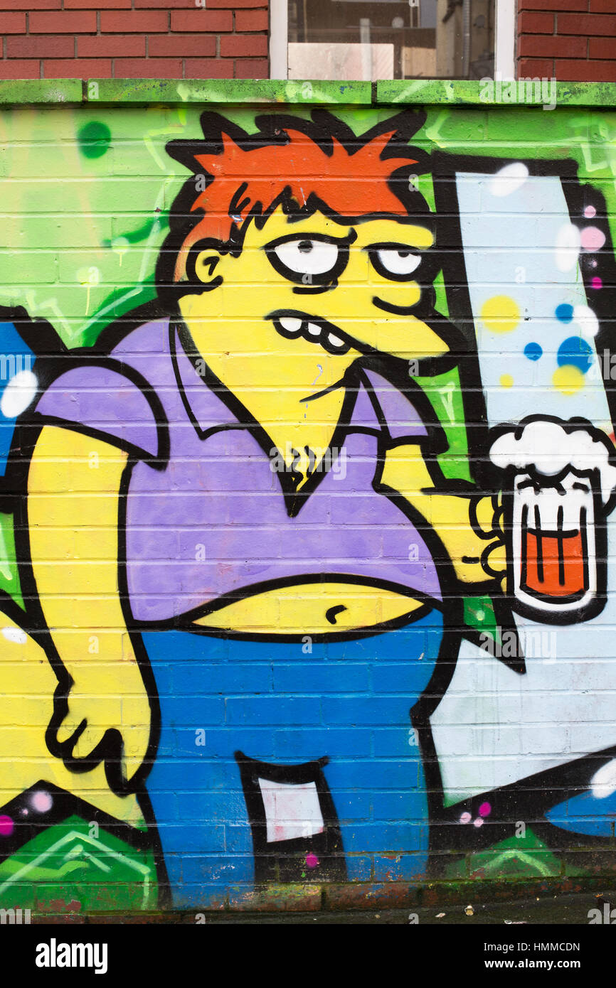 Graffiti Barney from The Simpsons Stokes Croft 2017 - Stock Image