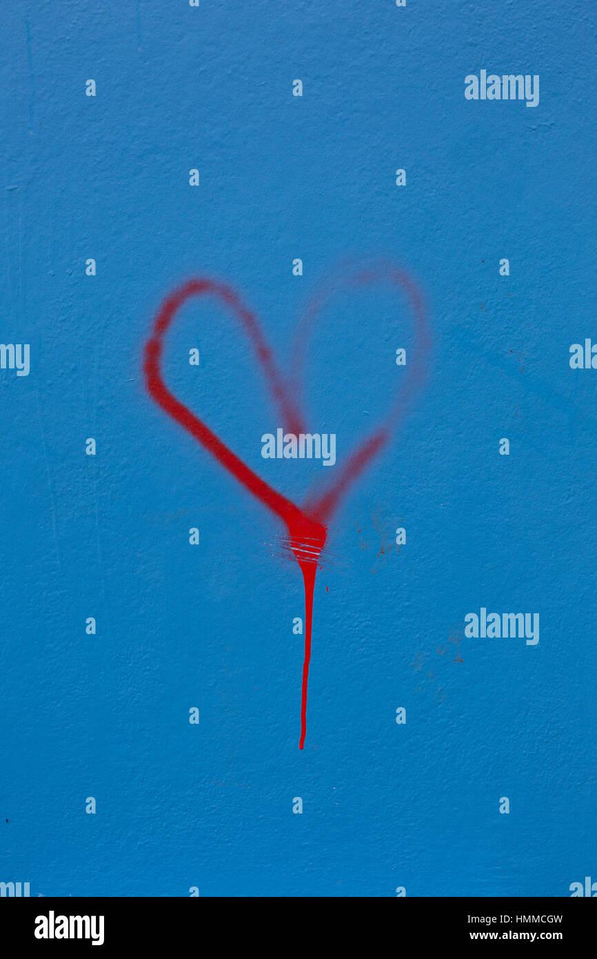 Graffiti Heart Stokes Croft 2017 - Stock Image