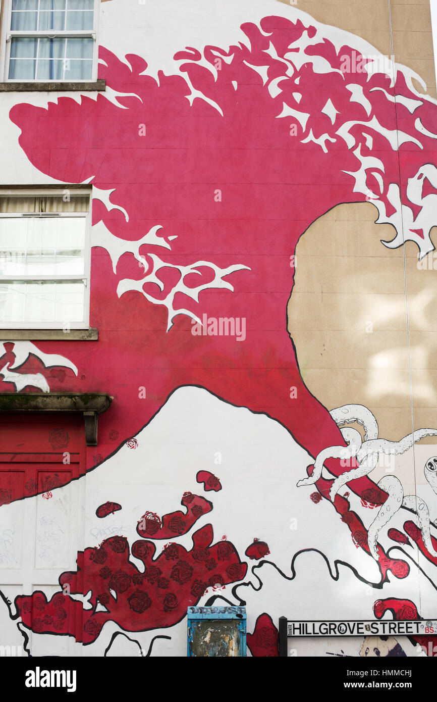 The Great Wave Graffiti Art Stokes Croft 2017 - Stock Image