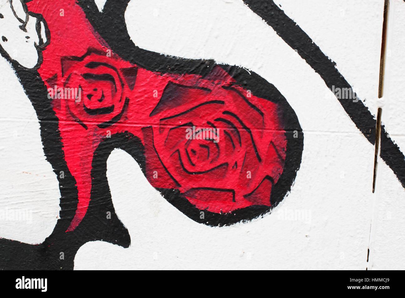 Rose graffiti stokes croft 2017 stock image