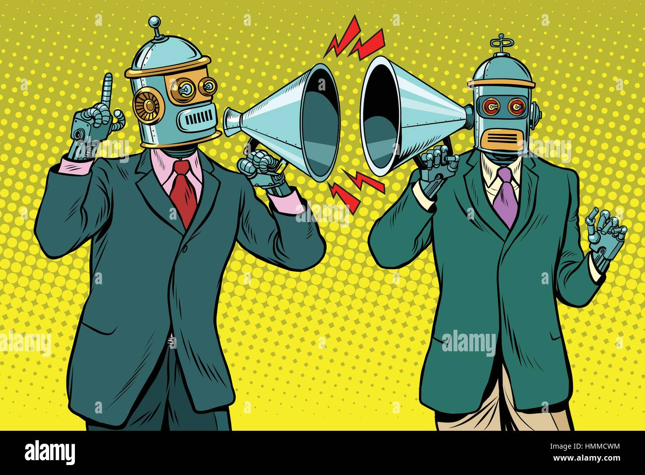 Vintage a dialogue between two robots - Stock Vector