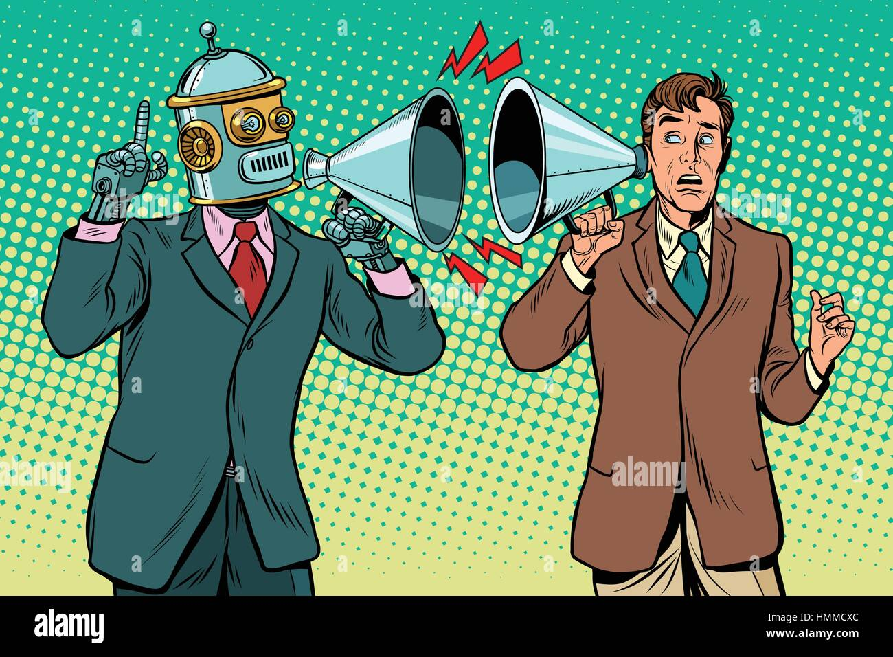 artificial intelligence robot speaks to the human - Stock Vector