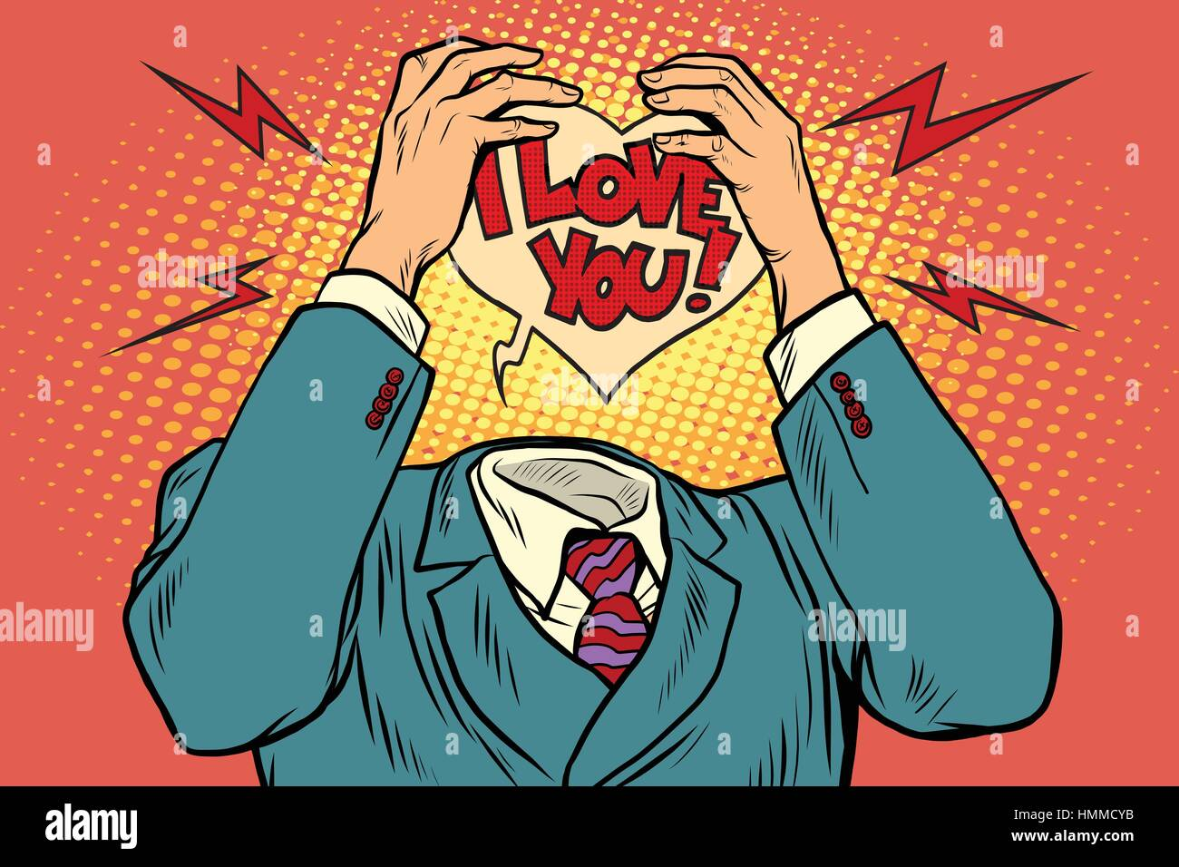 I love you, feelings instead of the head - Stock Vector