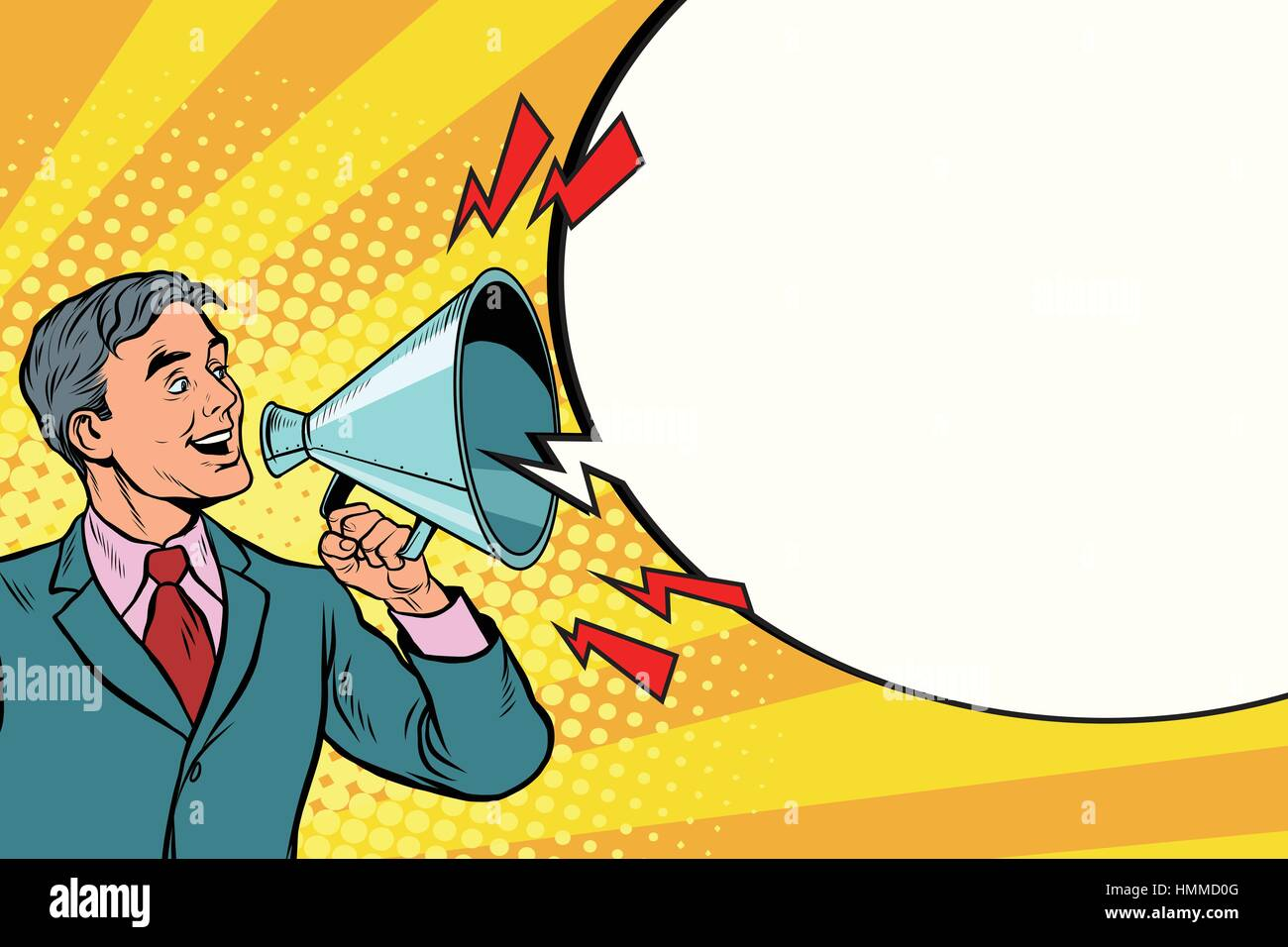 Vintage speaker with a megaphone shouting - Stock Vector