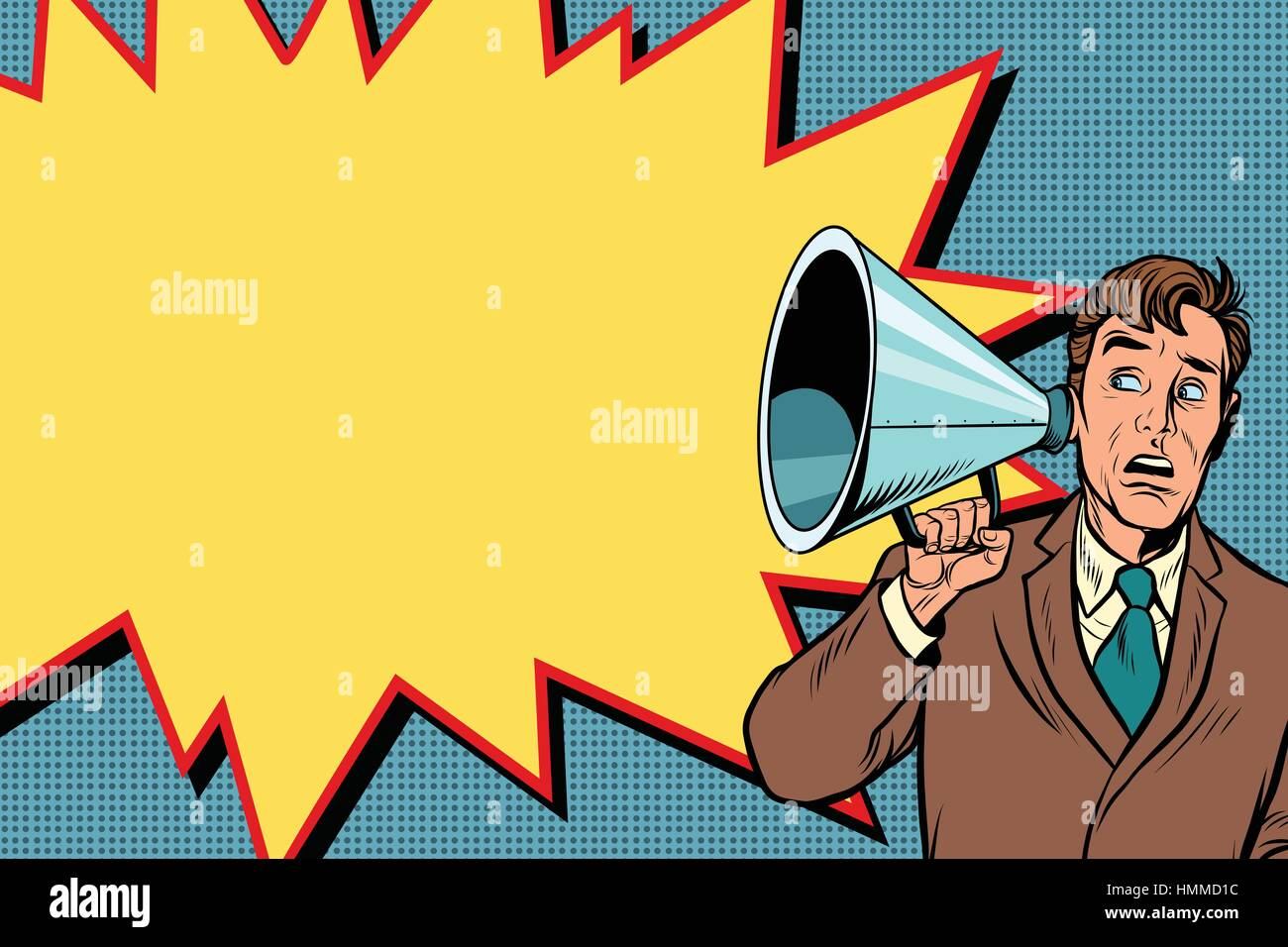 The listener with a vintage hearing aid - Stock Vector
