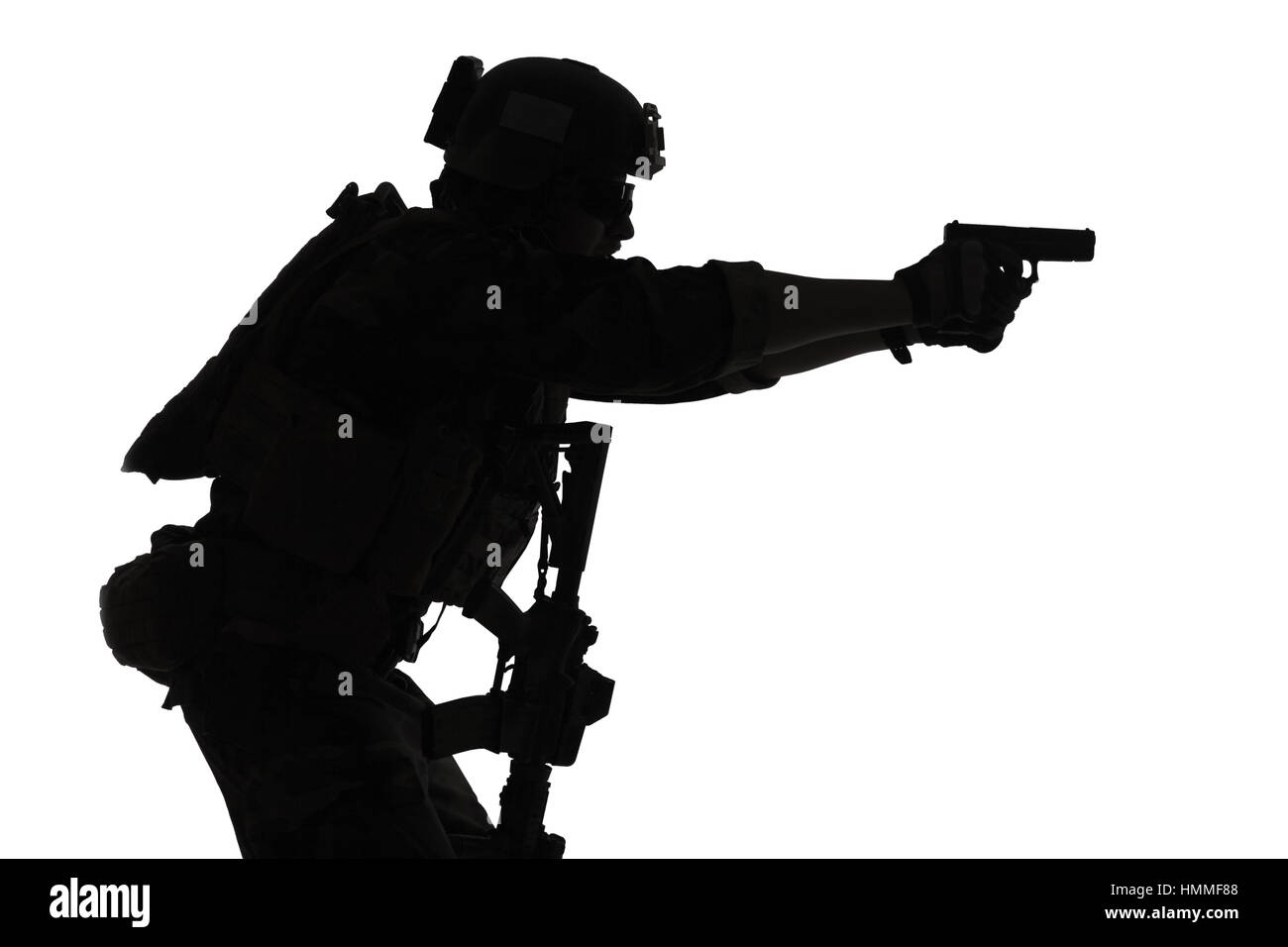 soldier with pistol - Stock Image