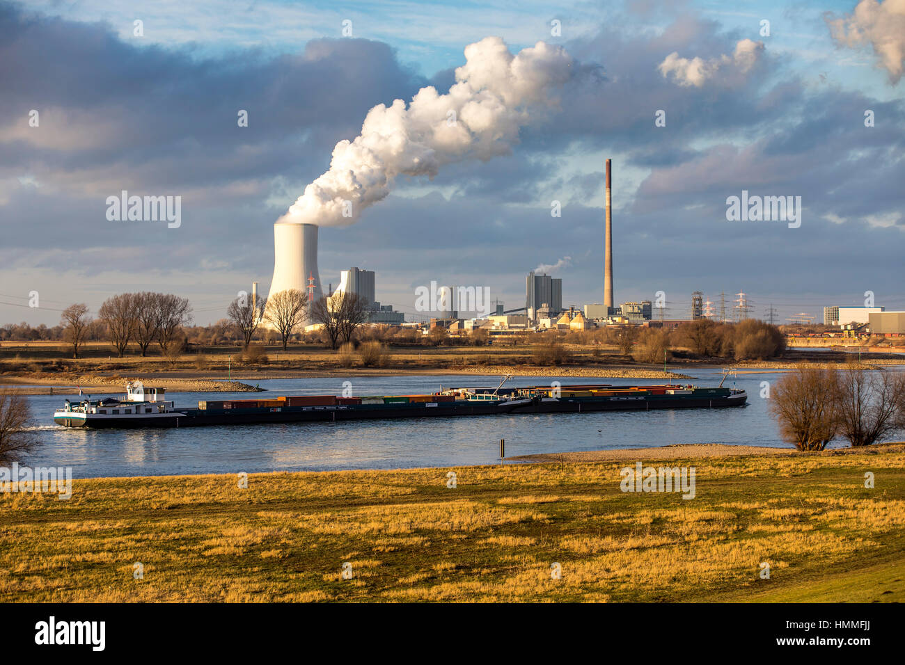 Cooling tower of the coal-fired power station Duisburg Walsum, Block 10, Freightship, Germany, Duisburg, - Stock Image