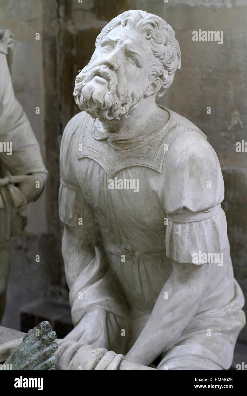 Nicomède. The entombment of Christ XVIth century. Notre-Dame de Villeneuve-sur-Yonne church. Sens. France. Stock Photo