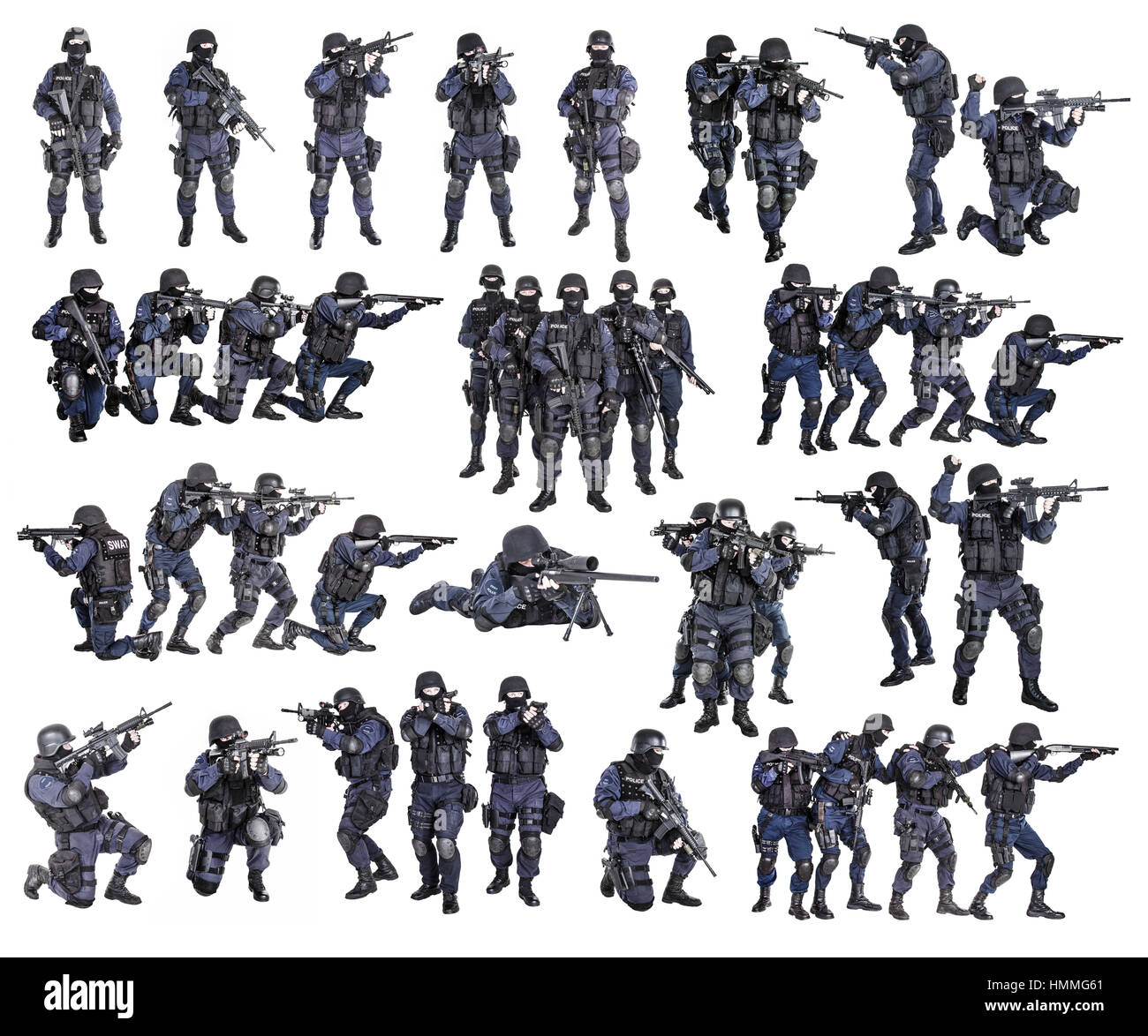Set of swat officers - Stock Image
