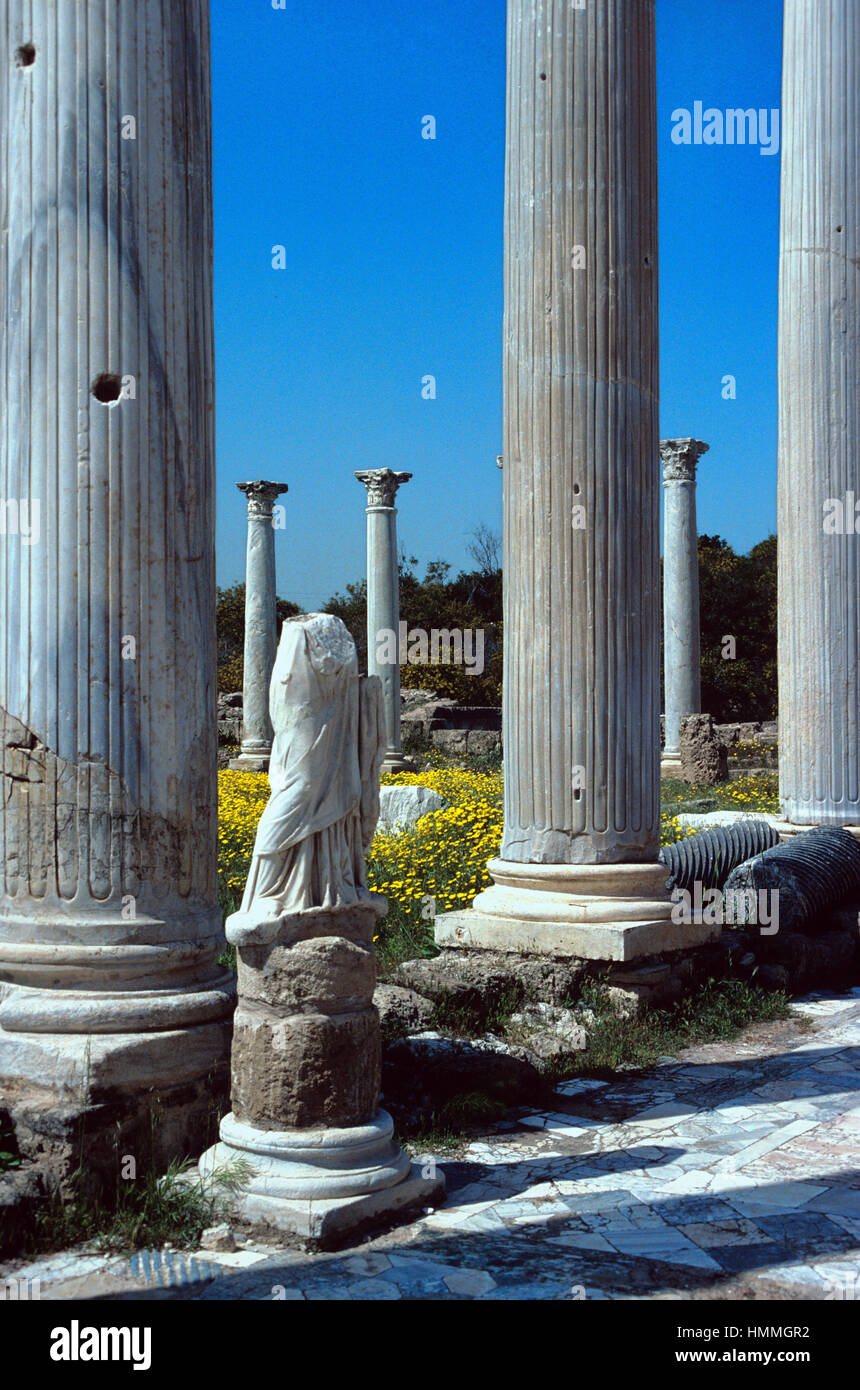 Classical Columns in the Antique Gymnasium at Salamis, a Ruined Ancient Greek City near Famagusta on the East Coast - Stock Image