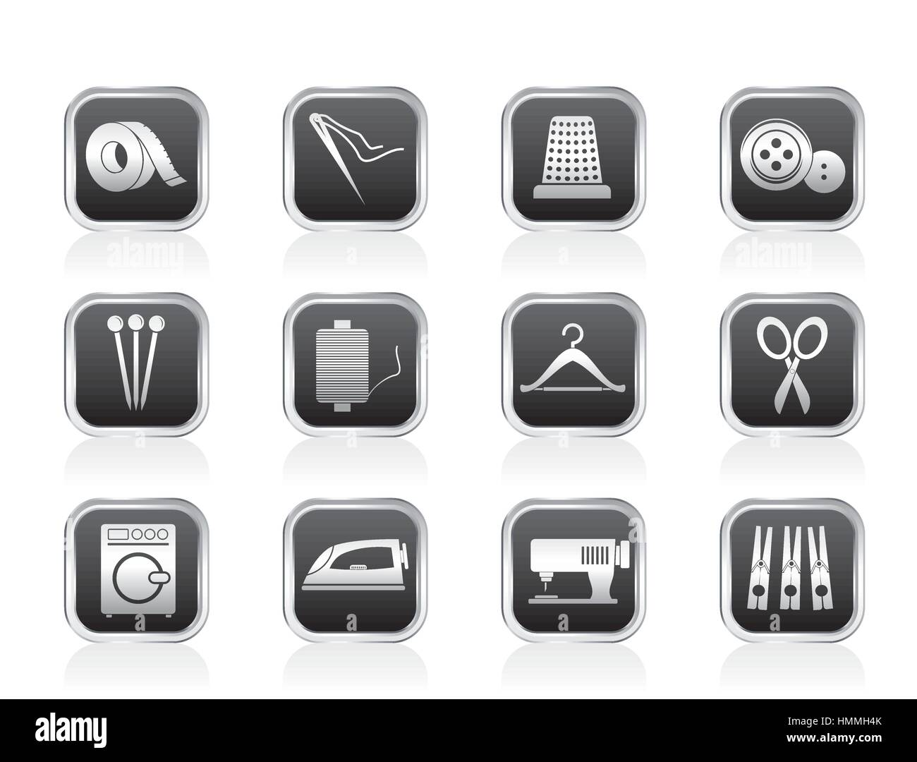 Textile objects and industry icons - Stock Image