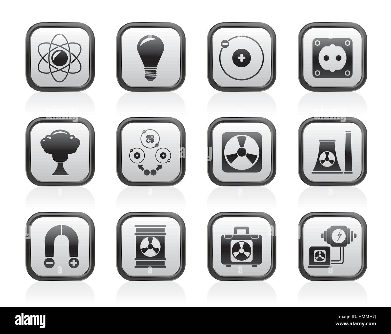 Atomic and Nuclear Energy Icons Stock Vector