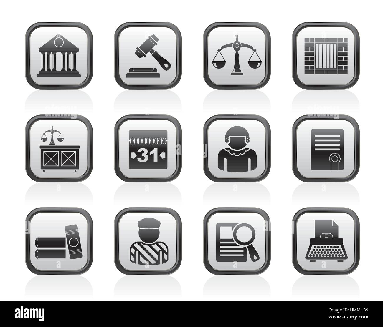 Justice and Judicial System icons - Stock Vector