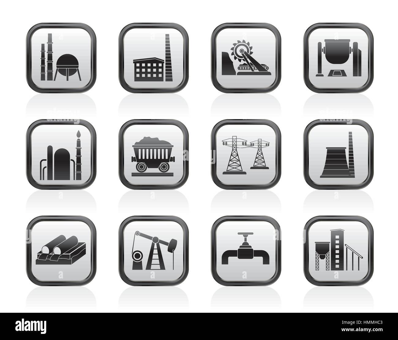Heavy industry icons - Stock Vector