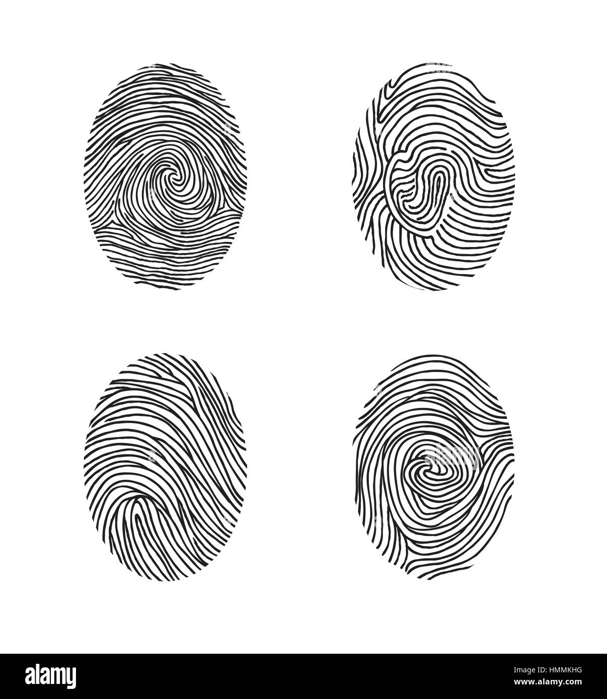 Fingerprint set. Abstract lswirl line decor elements with fingers print - Stock Image
