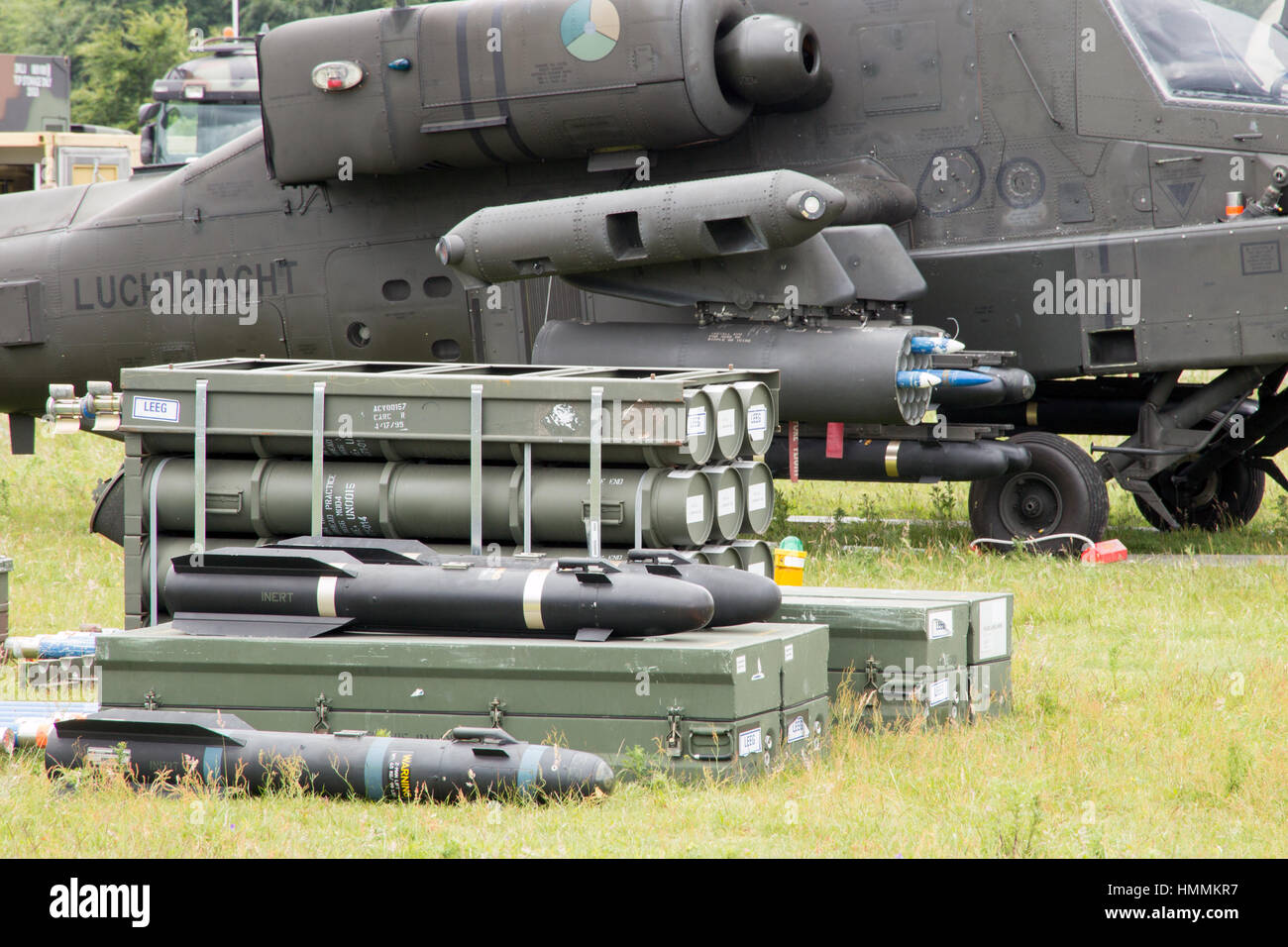 GILZE-RIJEN, NETHERLANDS - JUNE 20: Rockets and weaponry for the Apache attack helicopter on display at the Royal - Stock Image