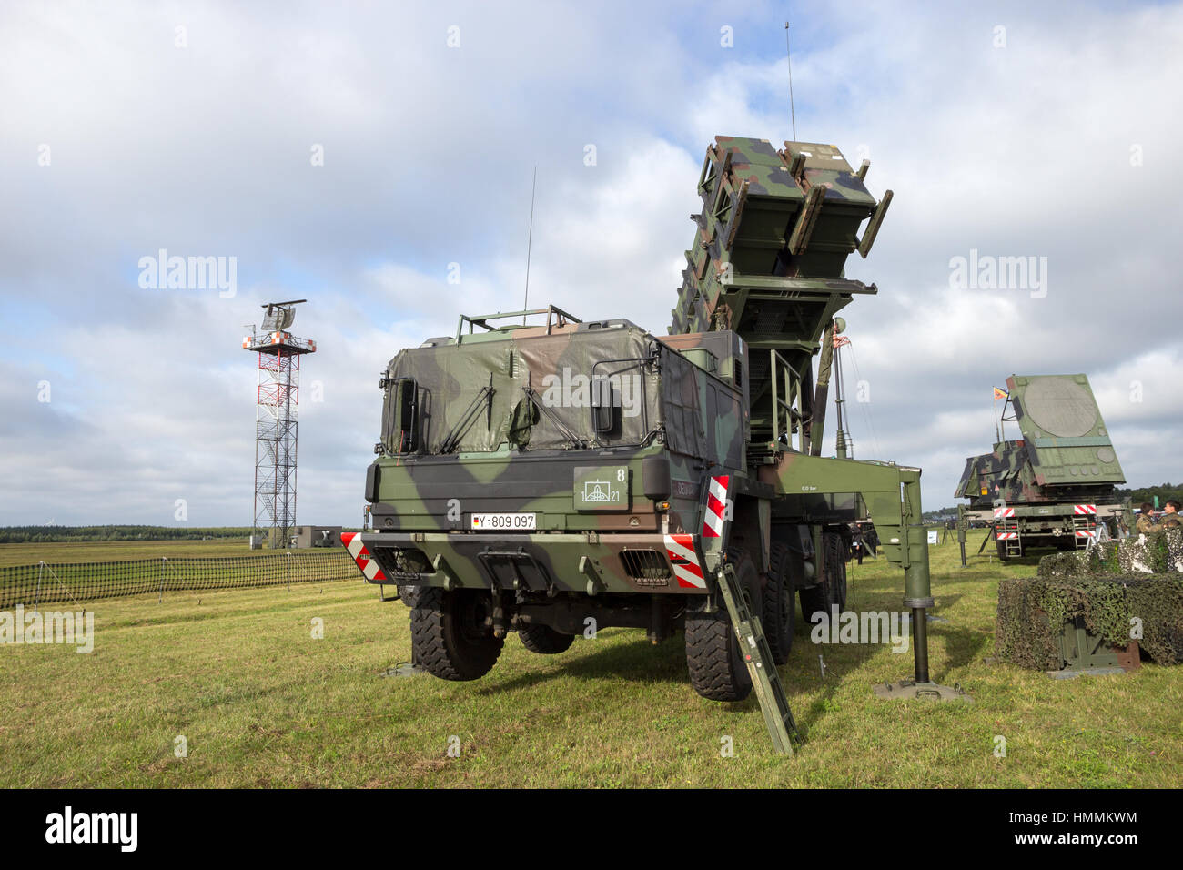 LAAGE, GERMANY - AUG 23, 2014: A German army mobile MIM-104 Patriot surface-to-air missile (SAM) system on display - Stock Image