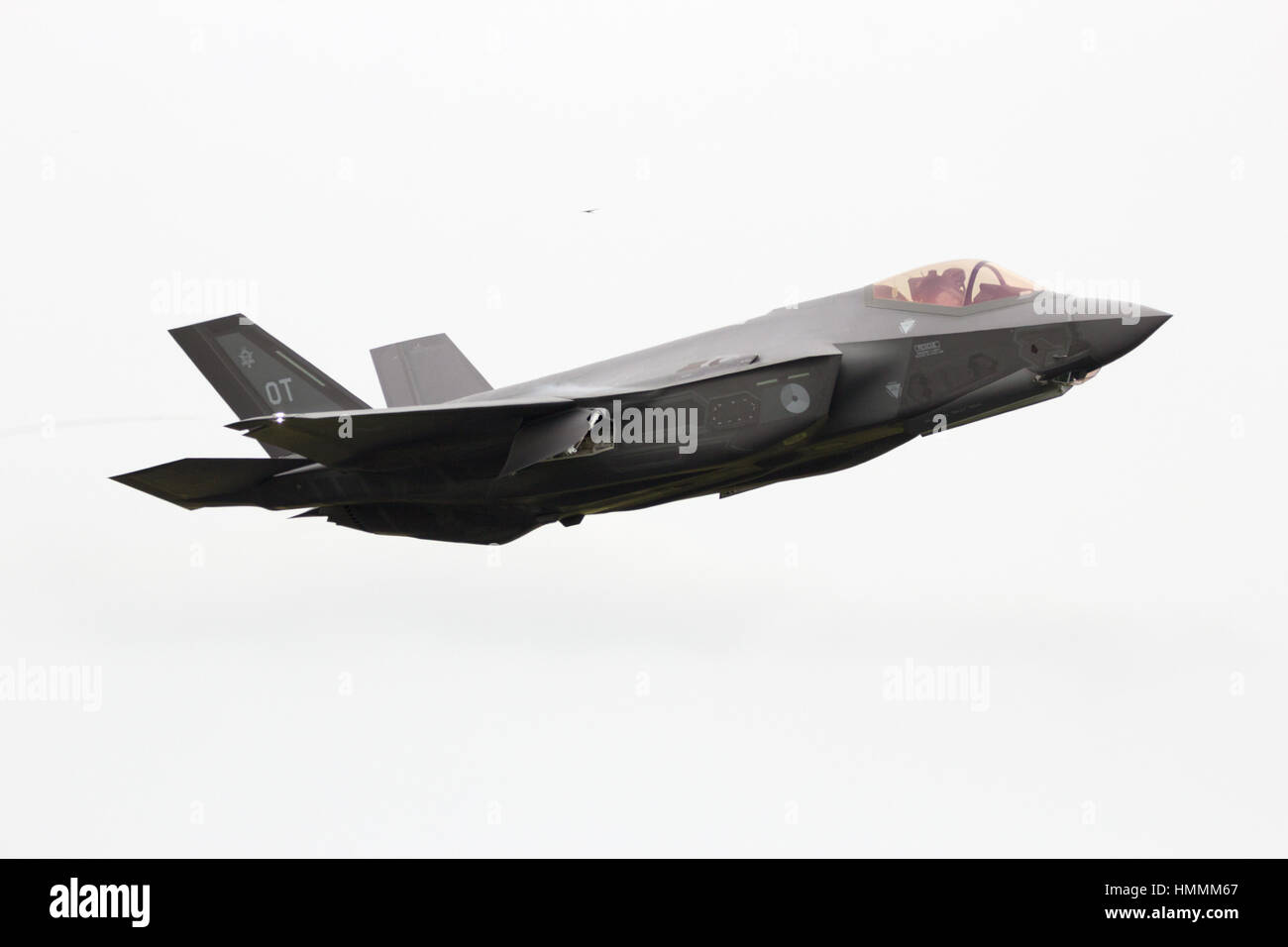 LEEUWARDEN, THE NETHERLANDS - JUN 10, 2016: A F-35 Lightning II take off on it's European debut at the Royal - Stock Image