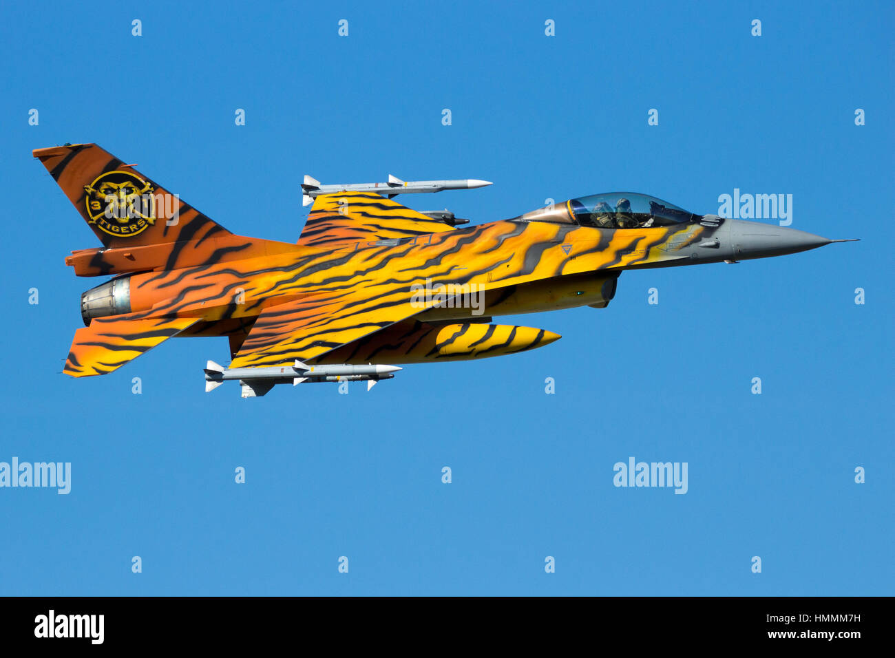 GILZE-RIJEN, THE NETHERLANDS - SEP 7, 2016: Special painted Belgian Air Force F-16 fighter jet making a fast flyby - Stock Image