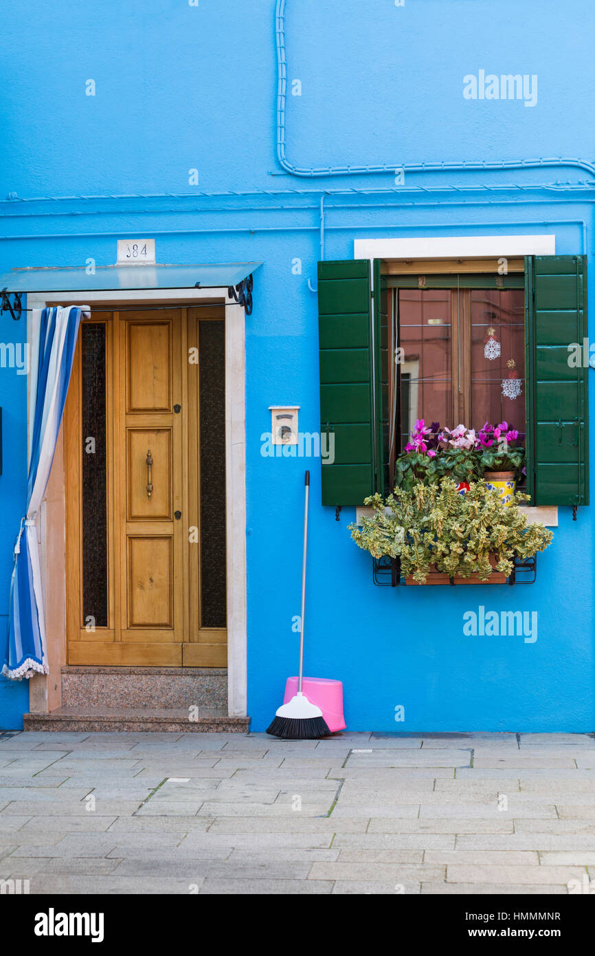 Bright exterior a turquoise door stock photos bright - Bright house colors for exterior ...