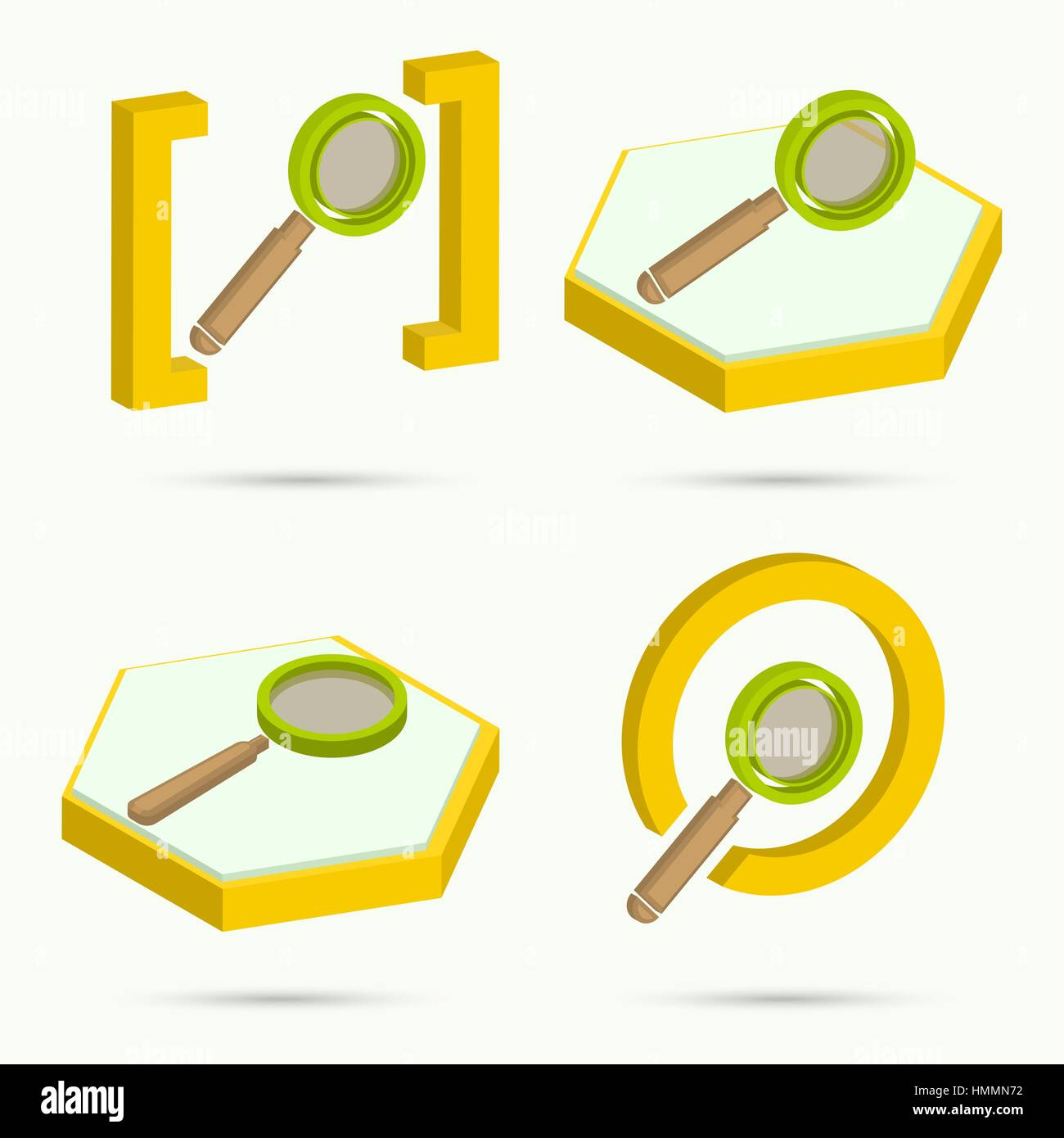 Isometric icons. Collection of four icons search. Vector illustration - Stock Vector