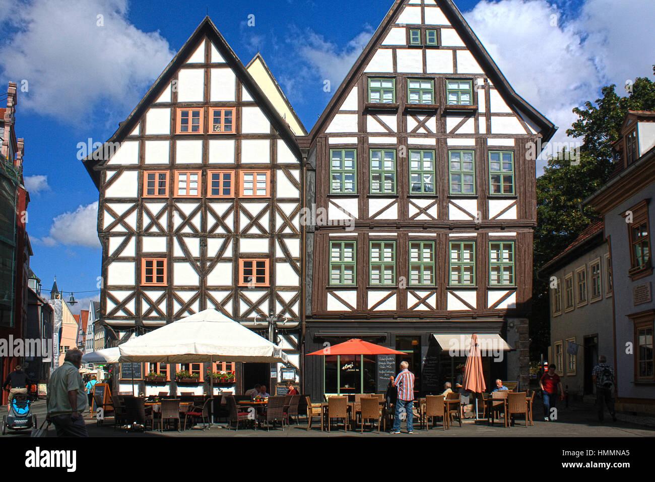 Fachwerk houses in Erfurt, Germany - Stock Image