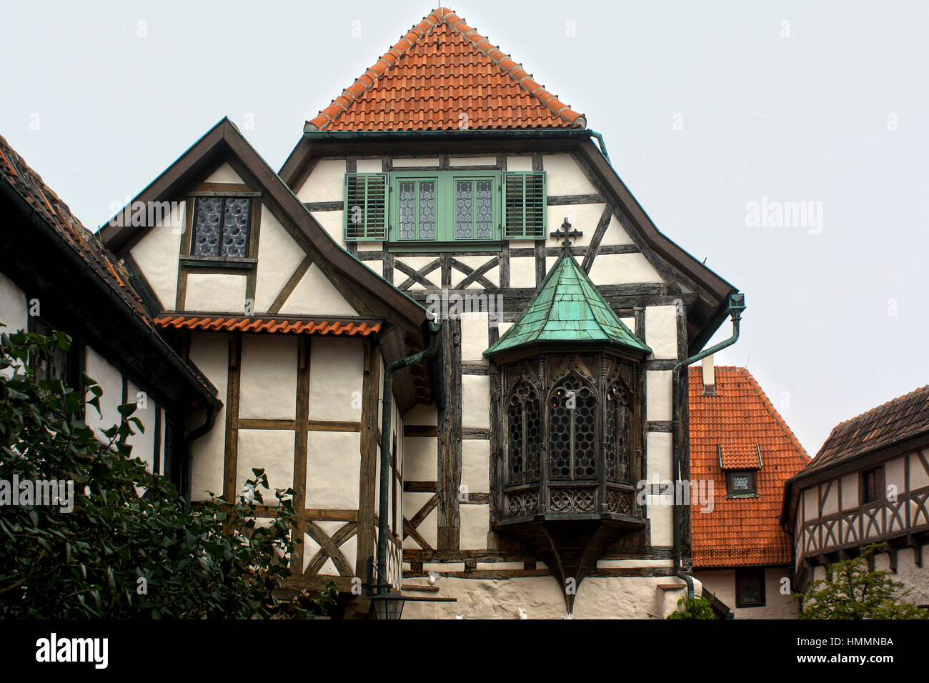 Gothic fachwerk building in the Wartburg castle, Germany - Stock Image
