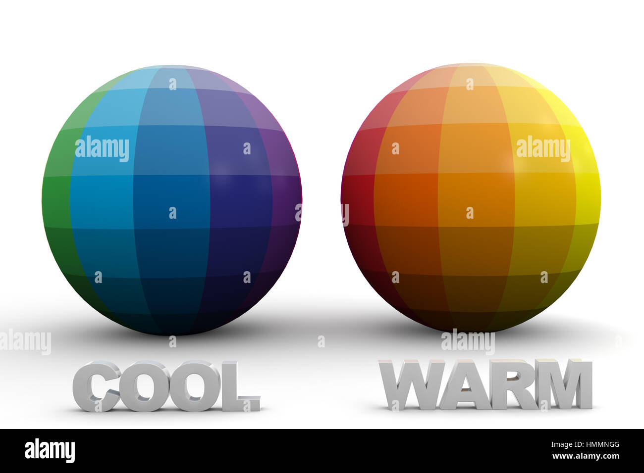Didactic Color Scheme: Cool & Warm Colors in 3D Sphere - Stock Image