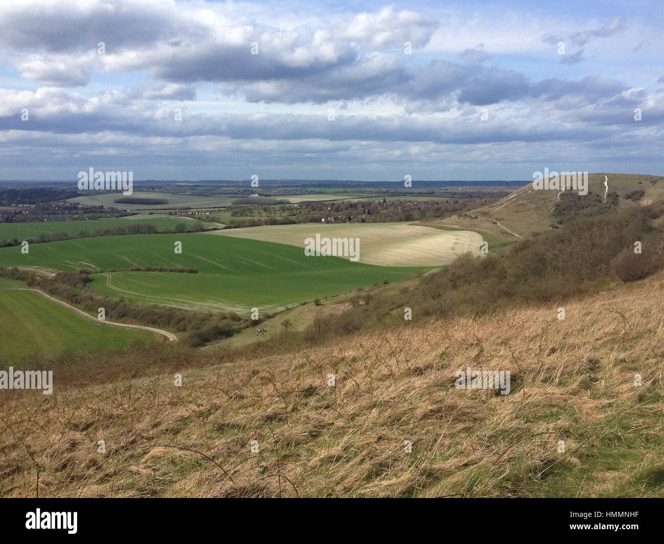 Dunstable Downs panorama, Chiltern Hills, Bedfordshire, England, UK - Stock Image