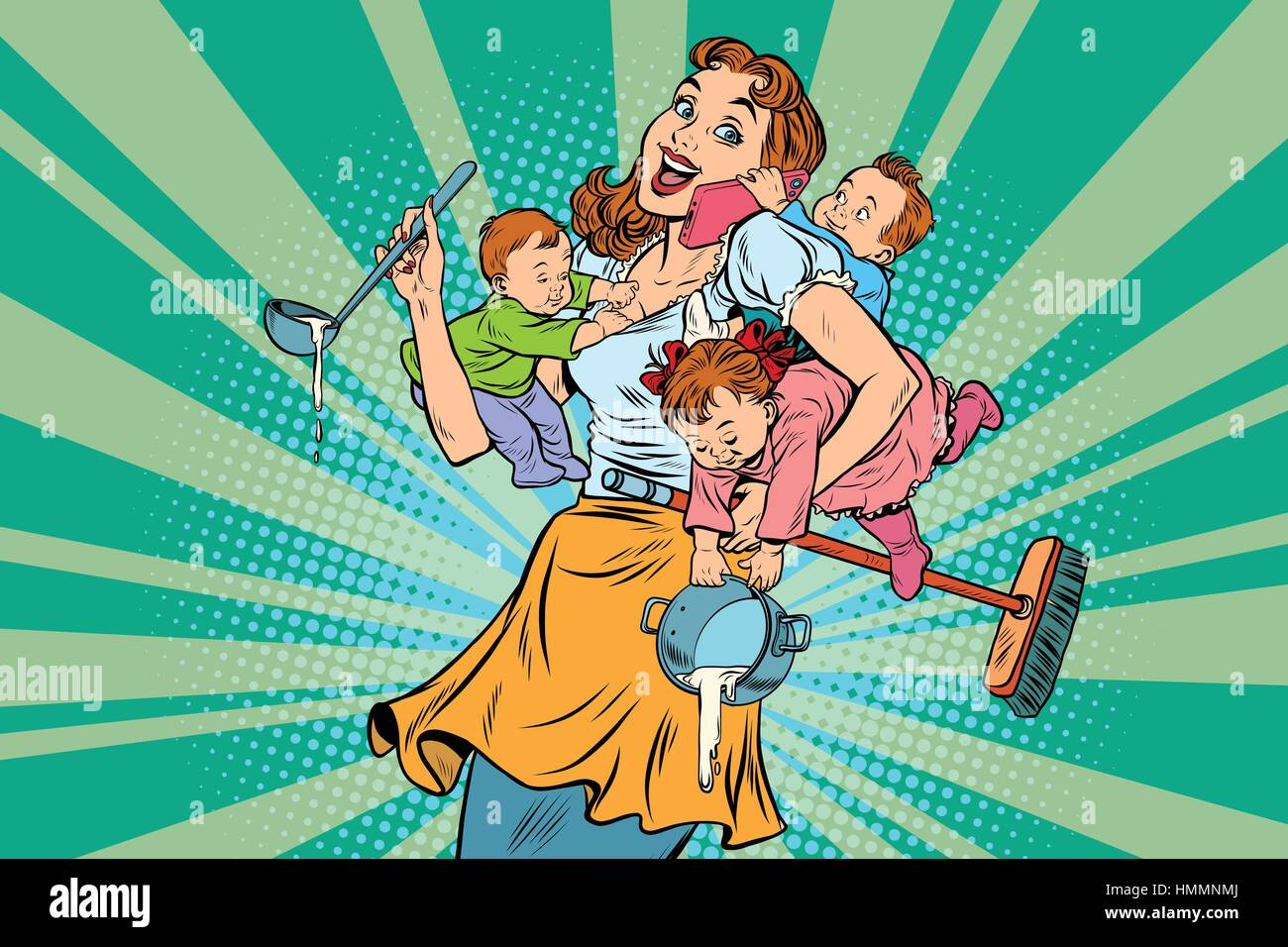 Cheerful mother with three children - Stock Vector
