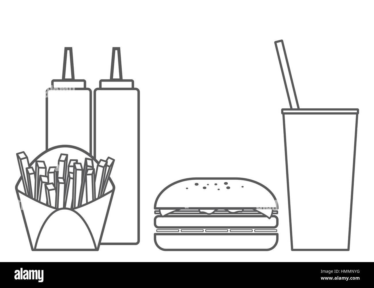 Fast Food Hamburger Vector Set - Stock Image
