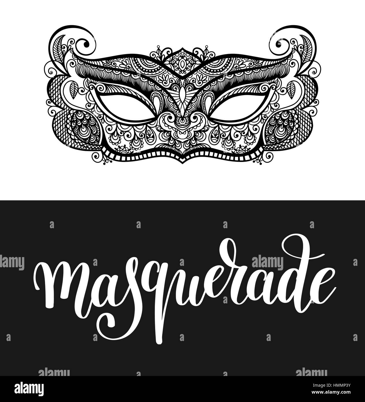 calligraphy brush lettering text design element and carnival mask