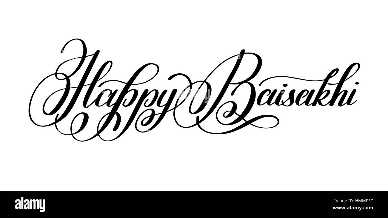 happy baisakhi hand written lettering inscription to indian holiday festive greetings card, banner, design, poster, - Stock Vector
