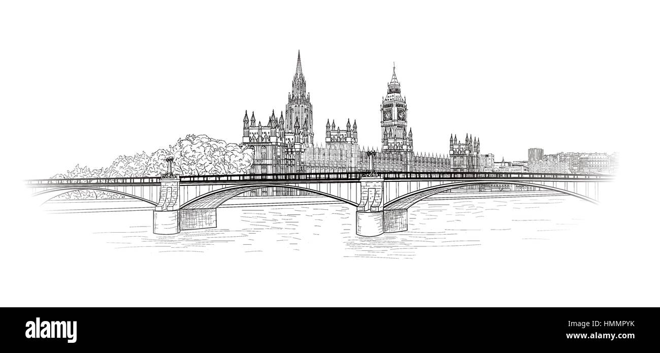 London cityscape. Famous place Westminster palace city view. Hand drawn engraved vector urban landscape in retro - Stock Image