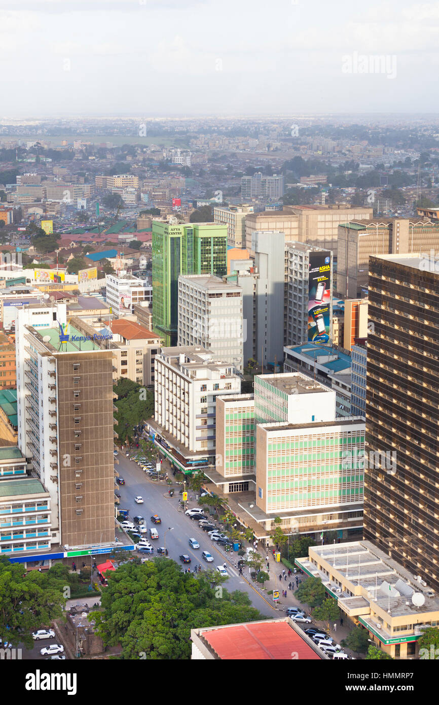 Nairobi, Kenya - February 7: Street in the business district of Nairobi, Kenya on February 7, 2013 - Stock Image
