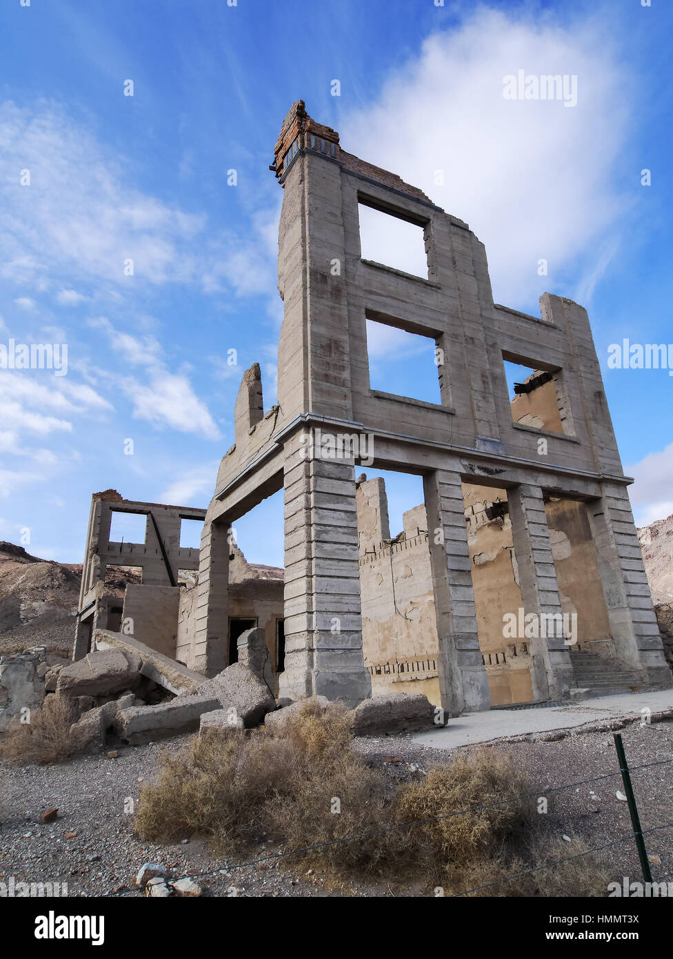 Abandoned bank building at Rhyolite Ghost town in Nevada, United States. - Stock Image