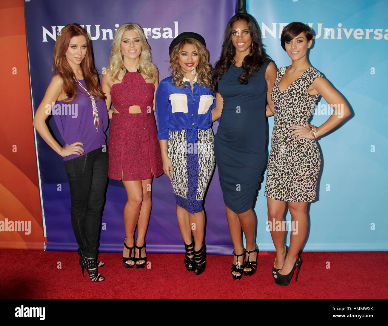 Una Healy, Mollie King, Vanessa White, Rochelle Humes, and Frankie Sandford of the pop singing group, The Saturdays, - Stock Image