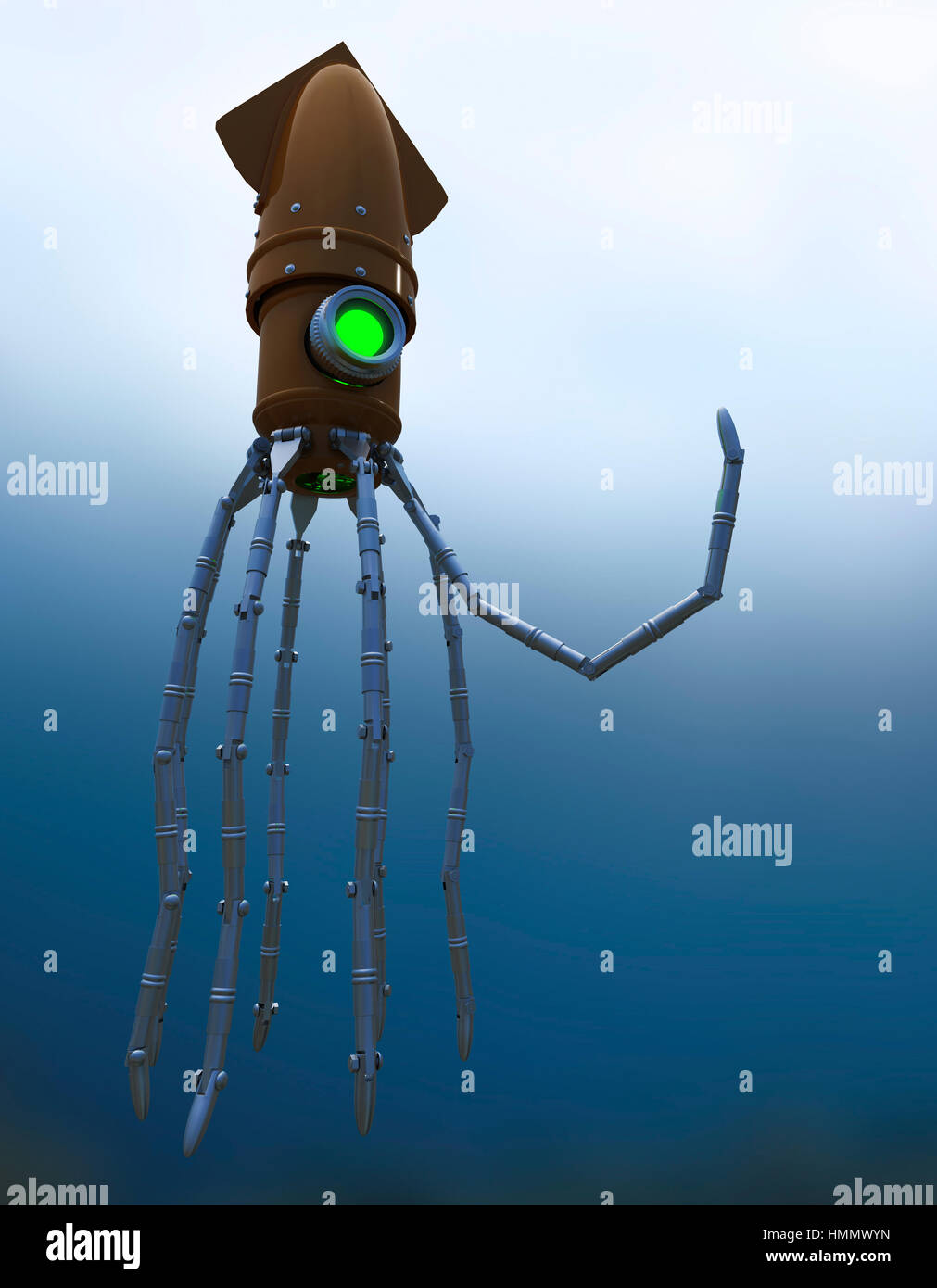 Steampunk Mechanical Squid Underwater with Glowing Lens - Stock Image