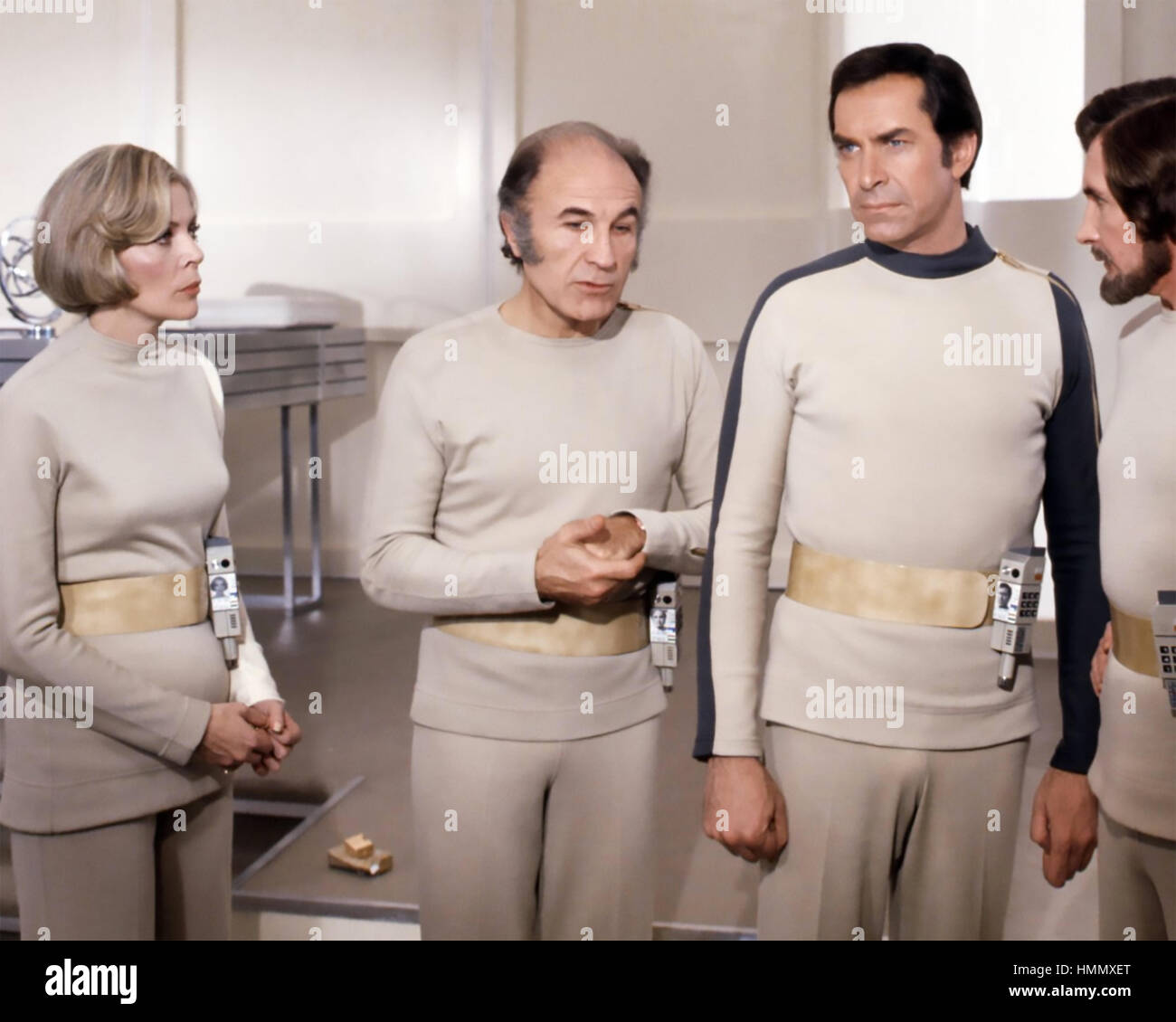 SPACE 1999 ITV/ITC sci-fi television series 1975-1977 with from left: Barbara Bain, Barry Morse, Martin Landau - Stock Image