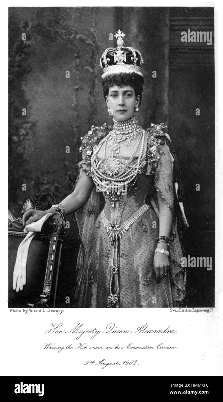 ALEXANDRA OF DENMARK (1844-1925) wife of Edward VII wearing the Koh-i-noor diamond in her Coronation Crown, 9 August - Stock Image