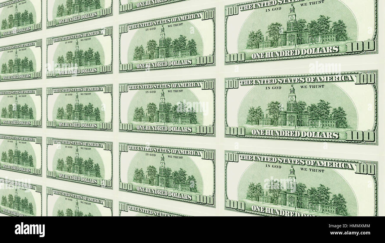 Reverse side of 100 dollar bills 3d perspective - Stock Image