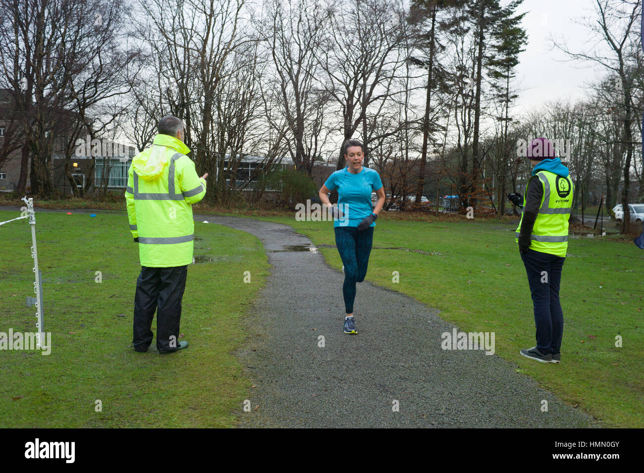 Aberdeen, UK. 4th February, 2017. Runners take part in the Aberdeen weekly Park Run on a wet Saturday morning Credit: - Stock Image