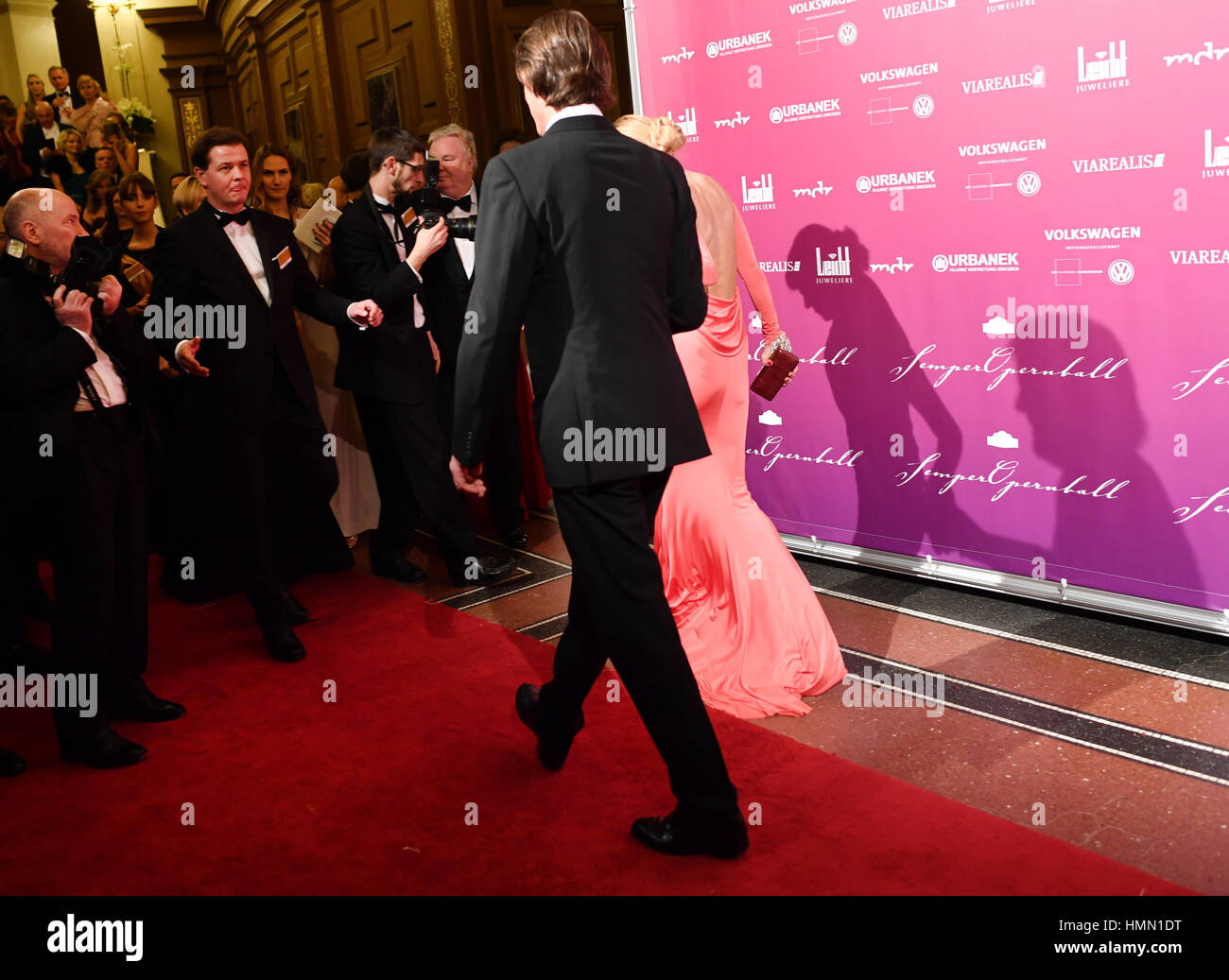 Dresden, Germany. 03rd Feb, 2017. Jenny Elvers and Steffen van den Beeck at the 12th Semper Opera Ball in Dresden, - Stock Image