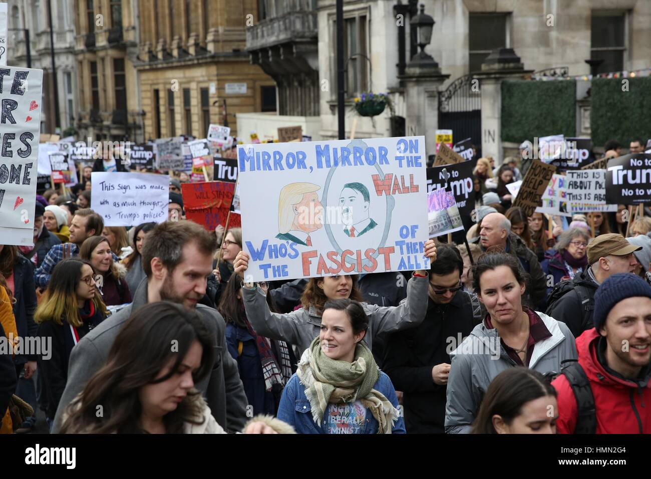 Thousands of demonstrators take part in a protest march and rally from the US Embassy in London to Downing Street. - Stock Image