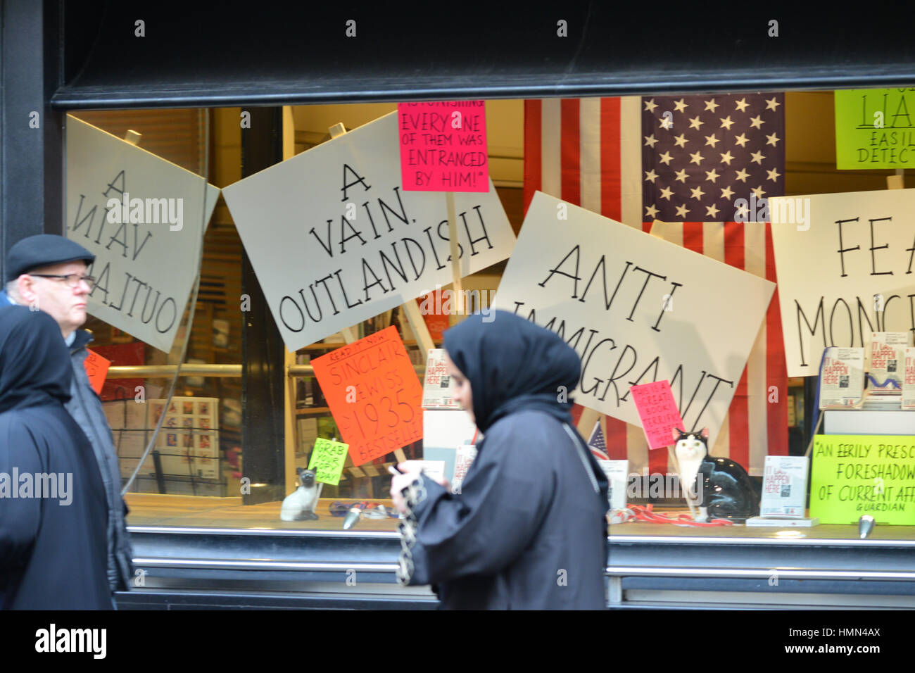 Piccadilly, London, UK. 4th February 2017. Waterstones shop window display at the Stop Trump's Muslim Ban in - Stock Image