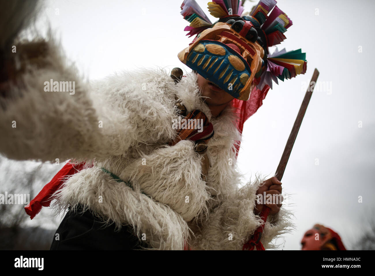 (170210) -- LONGNAN, Feb. 10, 2017 (Xinhua) -- A villager performs Chigezhou, or 'Dance for the Gods of Mountains', - Stock Image