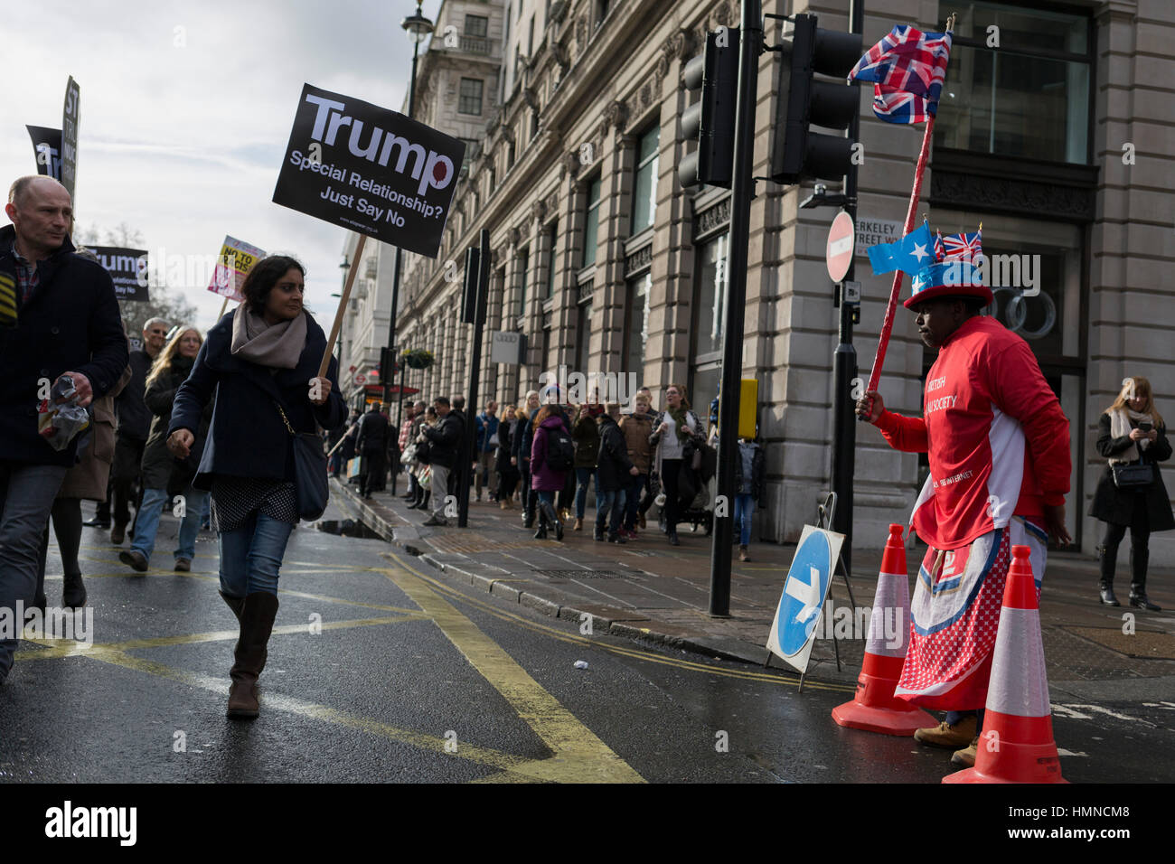 Stop Trump's Muslim ban demonstration on 4th February 2017 in London, United Kingdom. The protest was called on - Stock Image