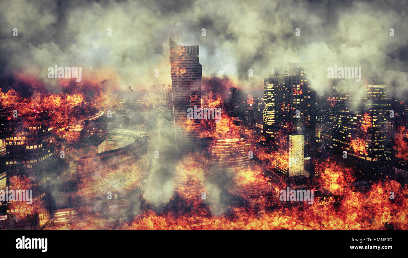 Apocalypse. Burning city, abstract vision.Photo manipulation - Stock Image