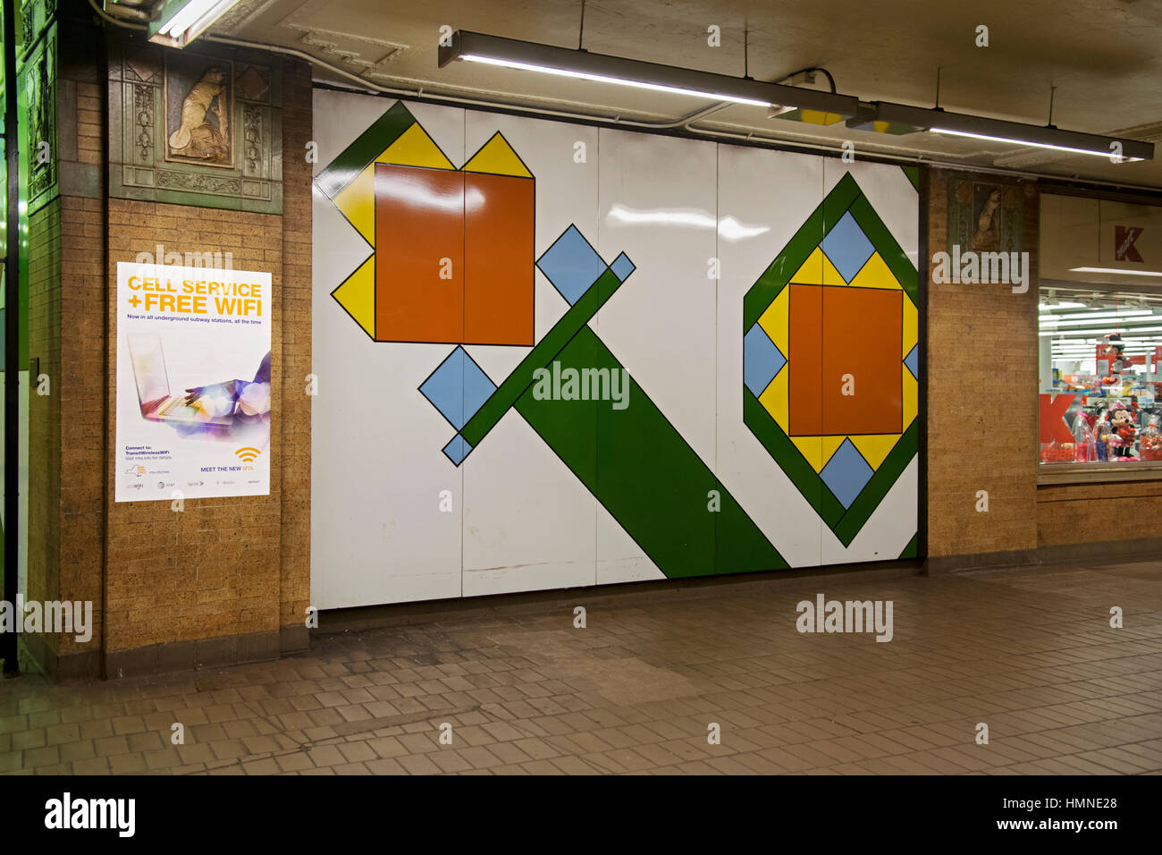 Subway art at the Astor place Station on the 6 train of the Lexington Avenue line in Manhattan, New York City. - Stock Image