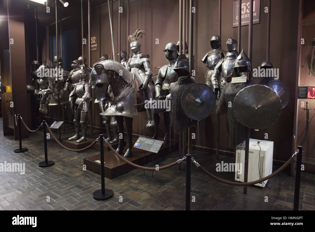 Knights with full plate armours, chain mail armor, exhibition in Polish Army Museum in Warsaw, Poland, Europe, 16th - Stock Image